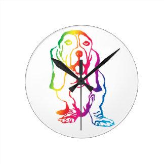 Rainbow Basset Hound Round Clock