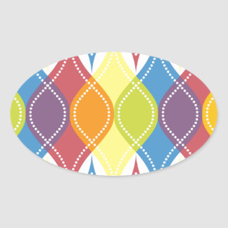 Rainbow Baubles Oval Sticker