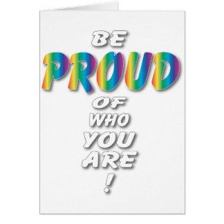 Rainbow Be Proud looks best on Black Greeting Cards