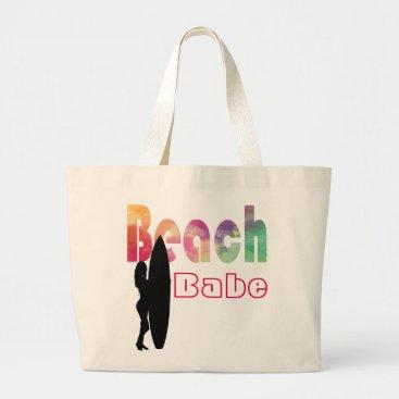 Beach Themed RAINBOW BEACH BABE SURF GIRL- TEMPLATE LARGE TOTE BAG