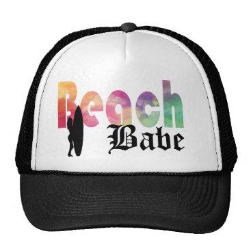 Beach Themed RAINBOW BEACH BABE SURF GIRL TRUCKER HAT