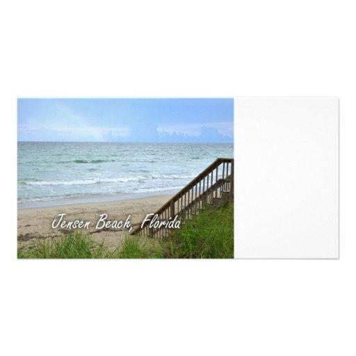 Rainbow Beach Steps Jensen Beach Florida Customized Photo Card