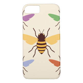Rainbow bees bumblebees vintage insect pattern iPhone 7 case