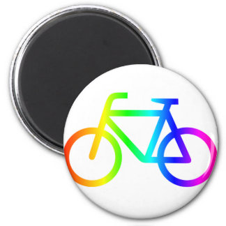 Rainbow Bicycle #3 2 Inch Round Magnet