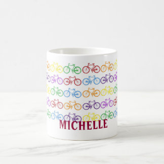 Rainbow Bicycle Cyclist Name Personalized Mug