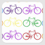 Rainbow Bicycling Classy Designer Square Stickers