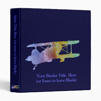 Rainbow Biplane 3 Ring Binder