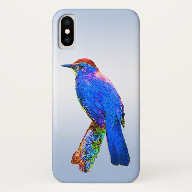 Rainbow Bird Abstract Blue iPhone X Case
