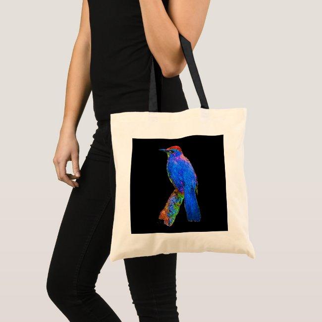 Rainbow Bird Blue Abstract on Black Tote Bag