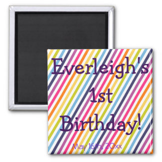 Rainbow Birthday 2 Inch Square Magnet