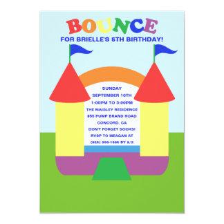 """Rainbow Birthday Bounce Bounc House Birthday Party 5"""" X 7"""" Invitation Card"""