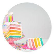 rainbow Birthday Cake Classic Round Sticker