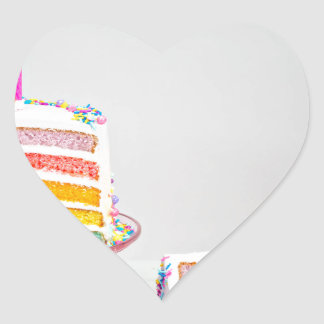 rainbow Birthday Cake Heart Sticker