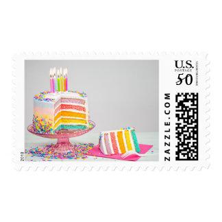 rainbow birthday cake postage postal stamps
