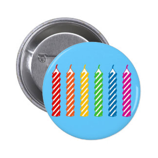 Rainbow Birthday Candles Pinback Button