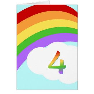 Rainbow Birthday Card For 4 Year Old