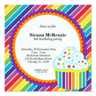 Rainbow Birthday 5.25x5.25 Square Paper Invitation Card