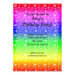 Rainbow birthday invitation hearts