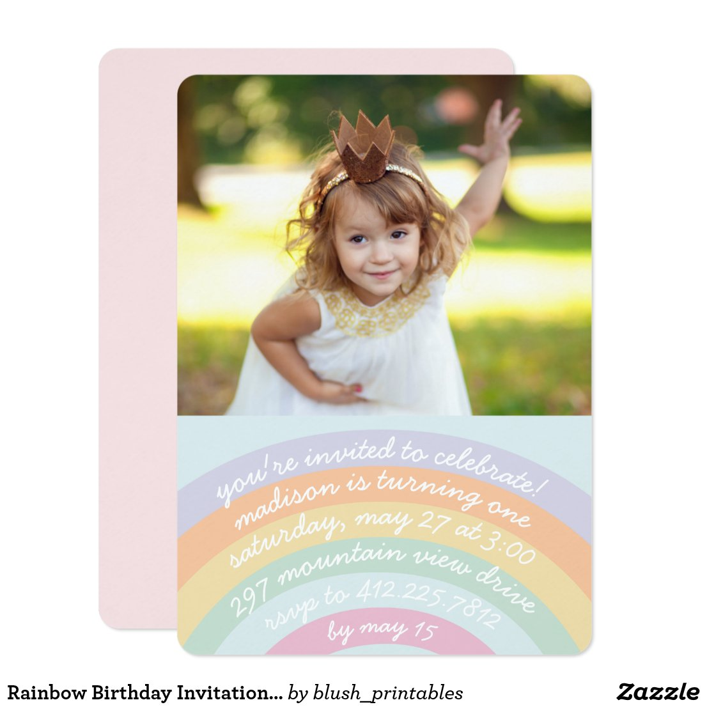 Rainbow Birthday Invitation with Photo