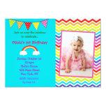 "Rainbow Birthday Invitations 5"" X 7"" Invitation Card"