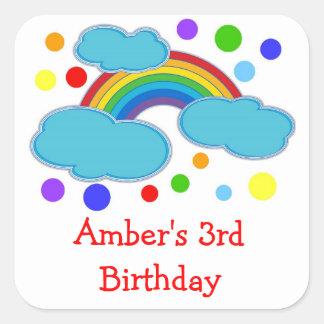 Rainbow Birthday Party Favor Labels Sticker