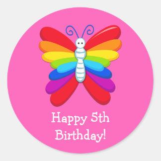 Rainbow Birthday Party Favor Sticker
