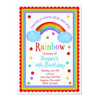 """Rainbow Birthday Party Invitation 5"""" X 7"""" Invitation Card"""