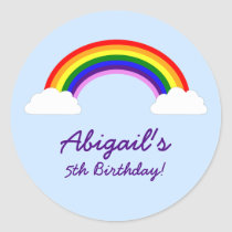 Rainbow Birthday Party Personalized Favor Classic Round Sticker