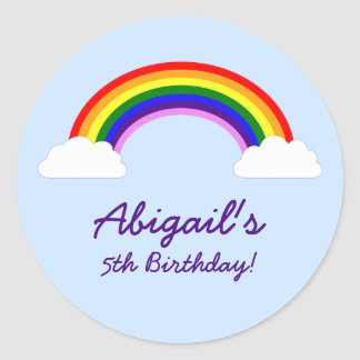 Rainbow Birthday Party Personalized Favor Classic Round Sticker