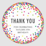 "Rainbow Birthday Party Thank You Stickers<br><div class=""desc"">Rainbow Birthday Party Thank You Stickers with personalized text and colorful confetti around the edge</div>"