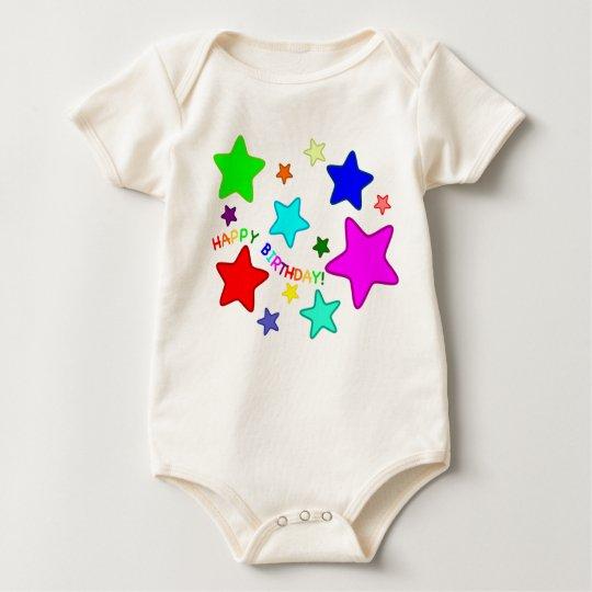 Rainbow Birthday Stars Baby Bodysuit