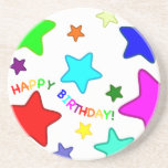 Rainbow Birthday Stars Beverage Coasters