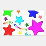 Rainbow Birthday Stars Rectangular Sticker