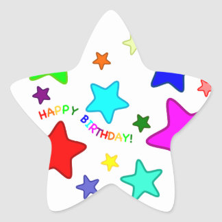 Rainbow Birthday Stars Star Sticker