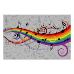 Rainbow black and gray  Music Notes Poster