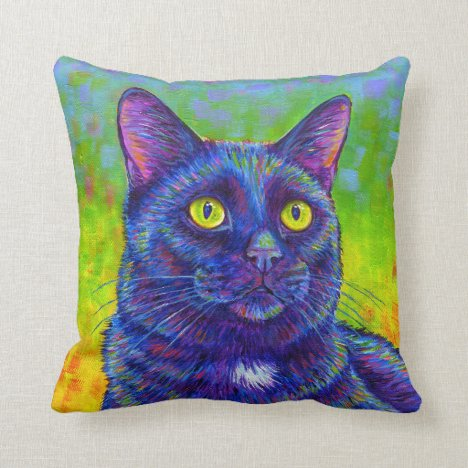 Rainbow Black Kitty Cat Throw Pillow