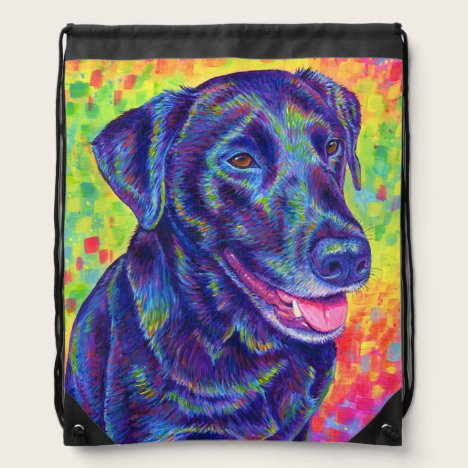 Rainbow Black Labrador Dog Drawstring Backpack