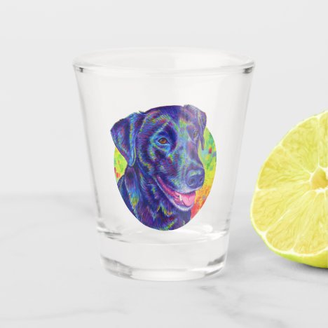 Rainbow Black Labrador Retriever Dog Shot Glass