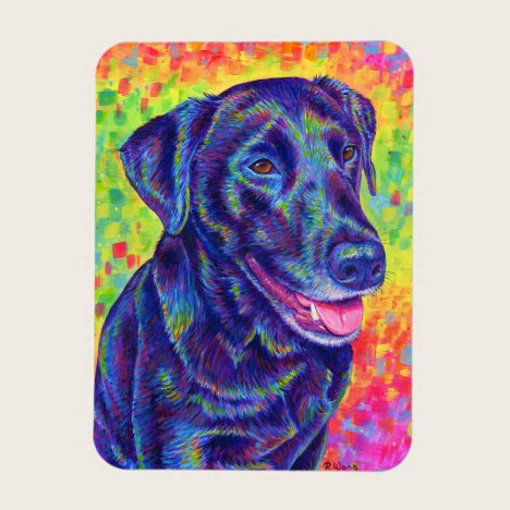Rainbow Black Labrador Retriever Flexible Magnet