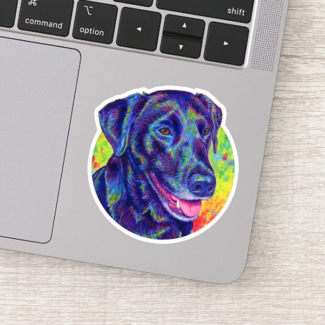 Rainbow Black Labrador Retriever Vinyl Sticker