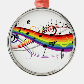 Rainbow Black Musical Notes Metal Ornament