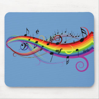 Rainbow Black Musical Notes Mouse Pad