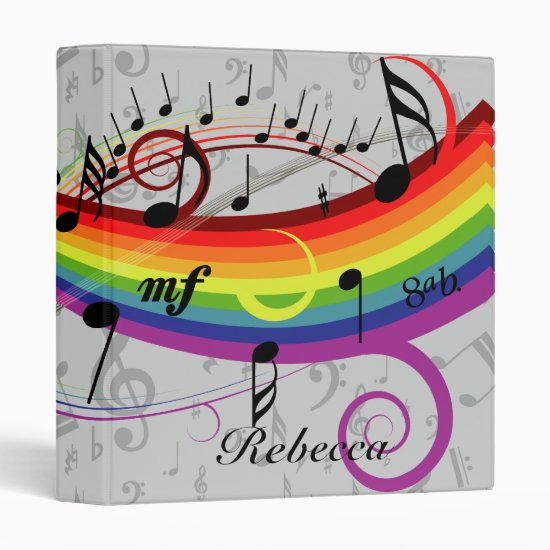 Rainbow Black Musical Notes on Gray 3 Ring Binder