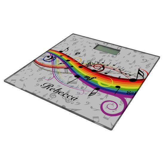Rainbow Black Musical Notes on Gray Bathroom Scale