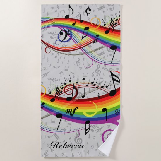Rainbow Black Musical Notes on Gray Beach Towel