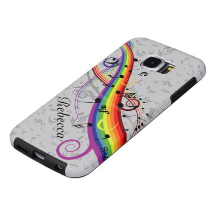 Rainbow Black Musical Notes on Gray Samsung Galaxy S6 Cases