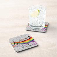 Rainbow Black Musical Notes on Gray Coaster