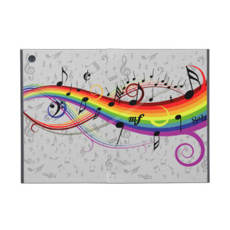 Rainbow Black Musical Notes on Gray iPad Mini Cases