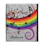 Rainbow Black Musical Notes on Gray iPad Cases