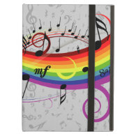 Rainbow Black Musical Notes on Gray iPad Covers